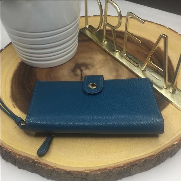 Coach | Blue Phone/Wallet Wristlet gold hw NWOT